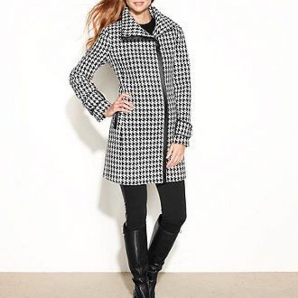 Calvin Klein Jackets & Blazers - Calvin Klein Houndstooth Coat w/Faux Leather Trim